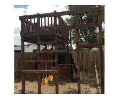 FREE - Must Go! Wood Playground, Playset, Swing with slide